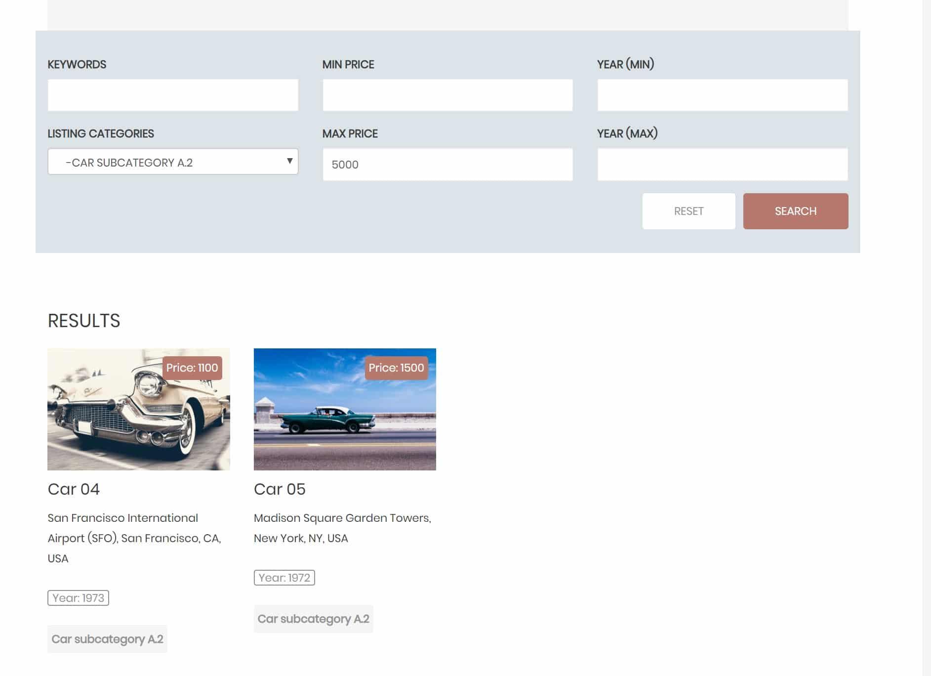 Funzionalità ricerca con filtri