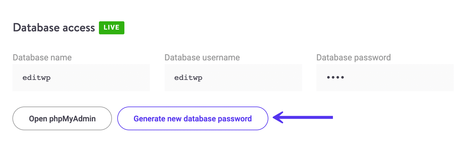 Generare una nuova password del database