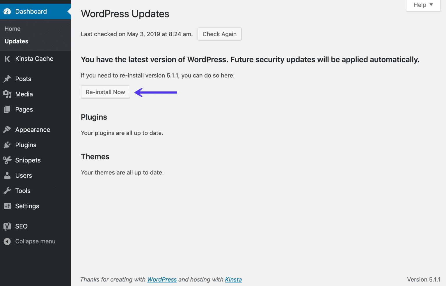 Opzione reinstalla adesso della dashboard di WordPress