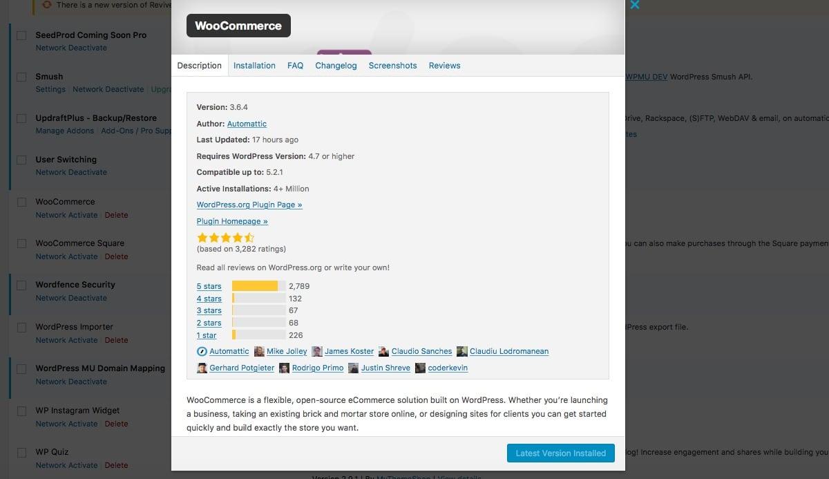 Il popup con i dettagli sul plugin WooCommerce