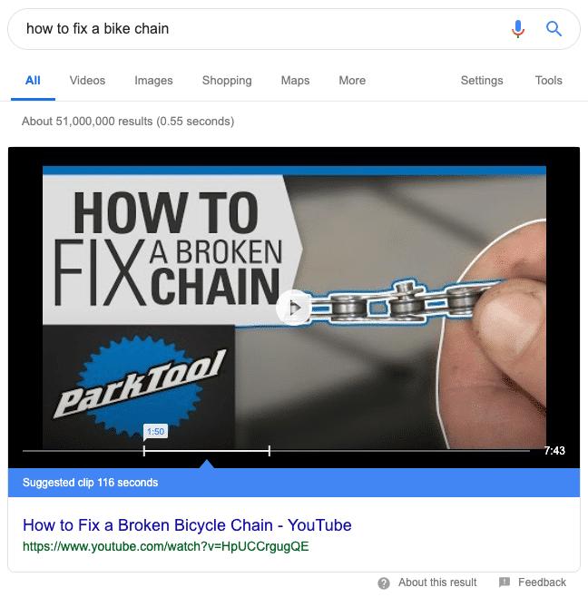 Lo snippet in evidenza di Youtube
