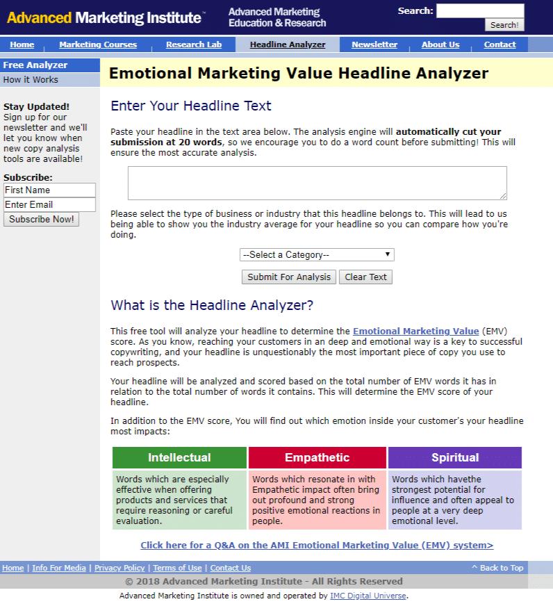 I migliori strumenti di analisi delle headline: Advanced Marketing Institute Headline Analyzer