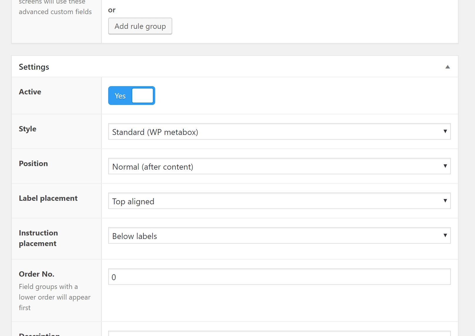 Configurazione delle impostazioni del gruppo di campi ACF
