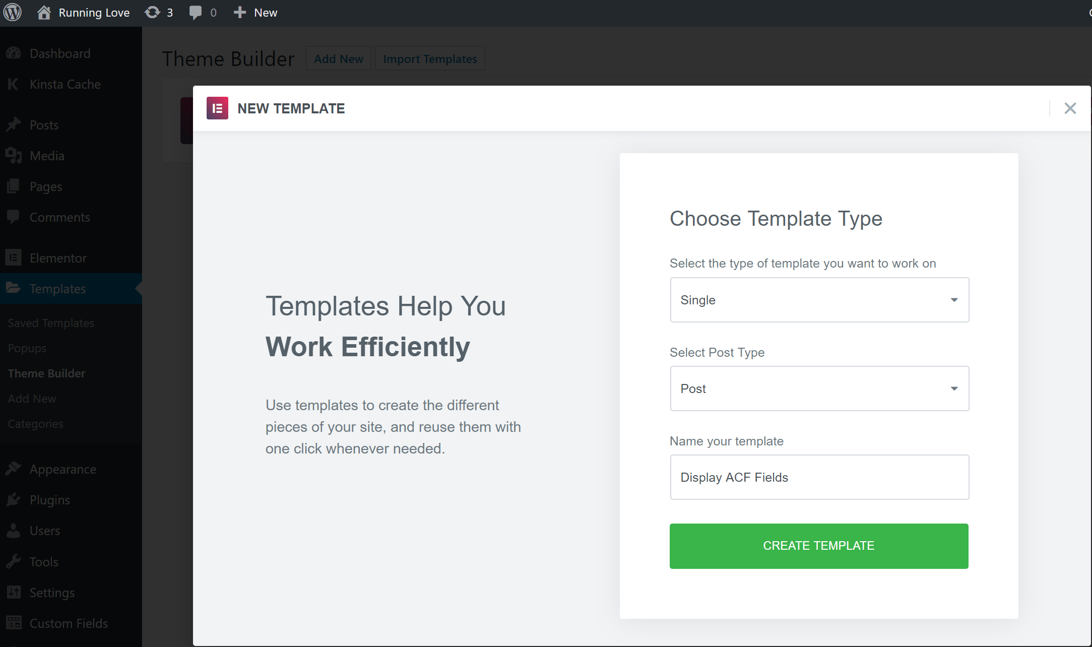 Creare un nuovo template Single con Elementor
