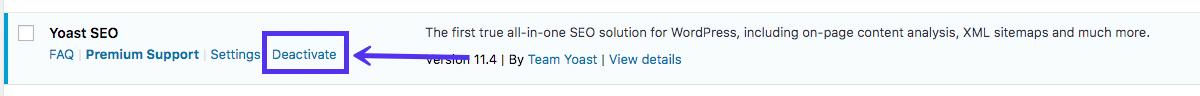Come disattivare un plugin di WordPress