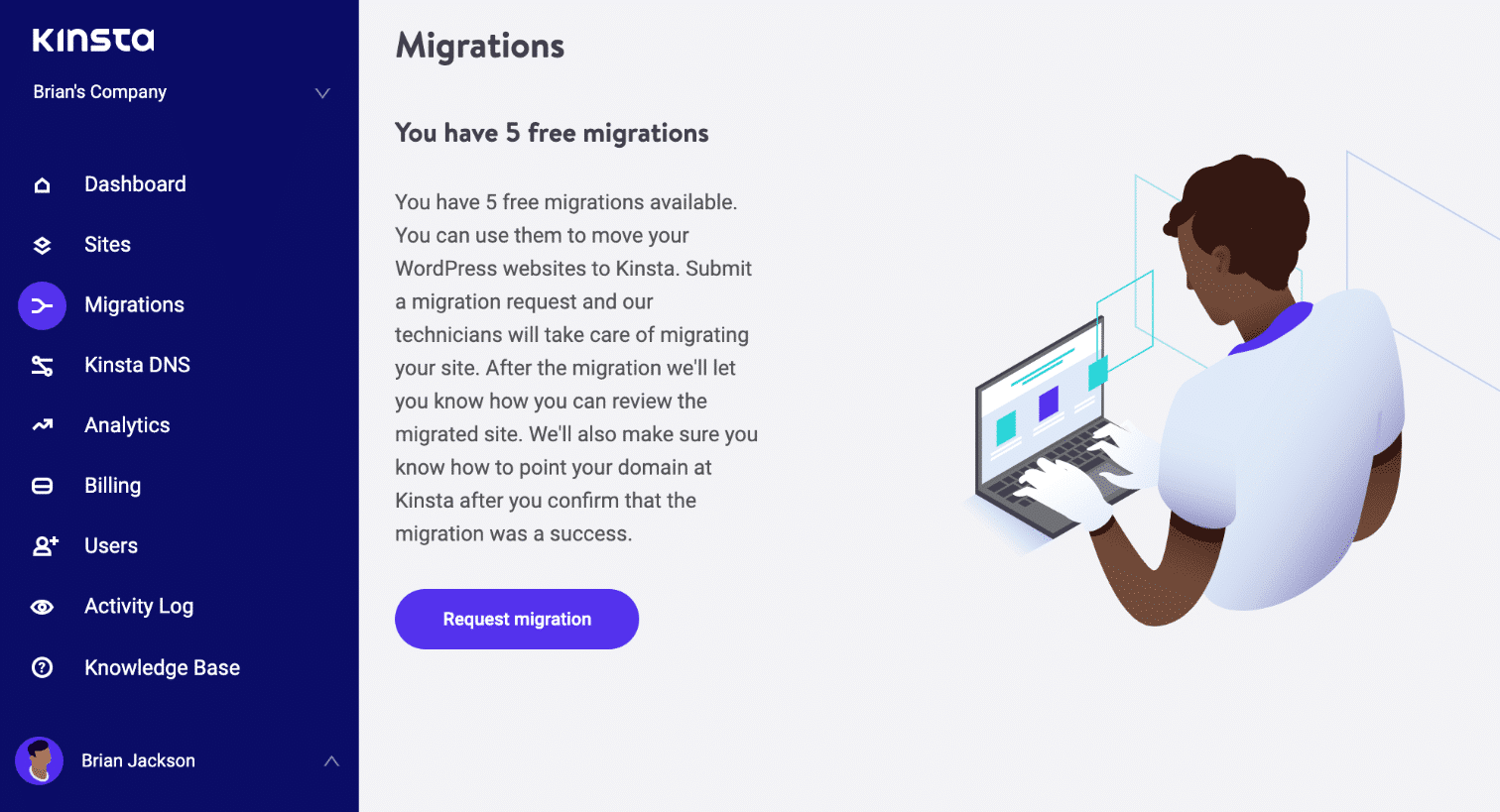 Migrazioni gratuite in MyKinsta