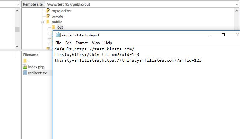Aggiungete il file redirects.txt