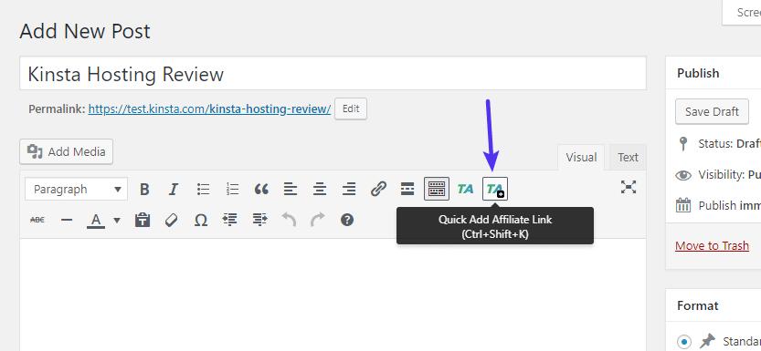 Aggiunta rapida del nuovo link nell'editor TinyMCE