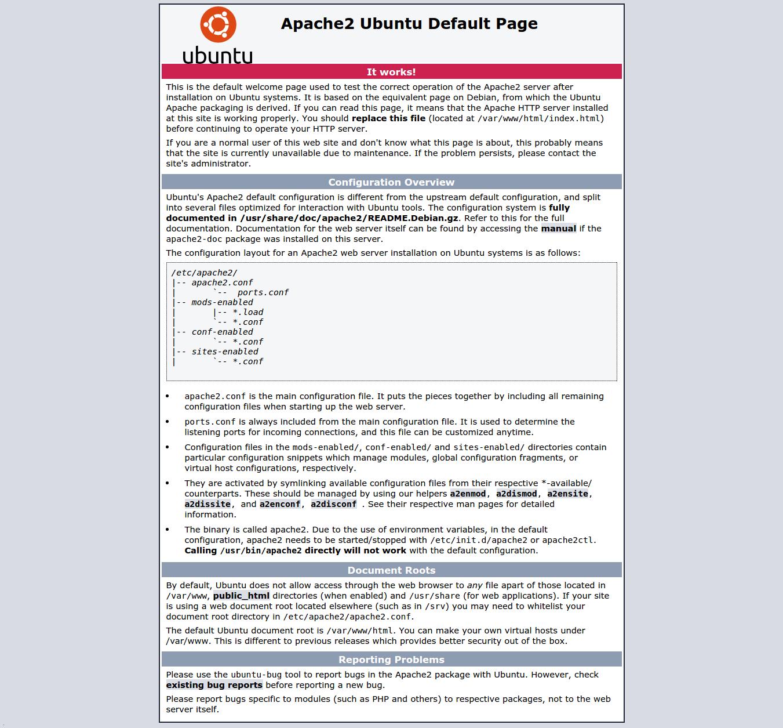 Pagina di default di Ubuntu