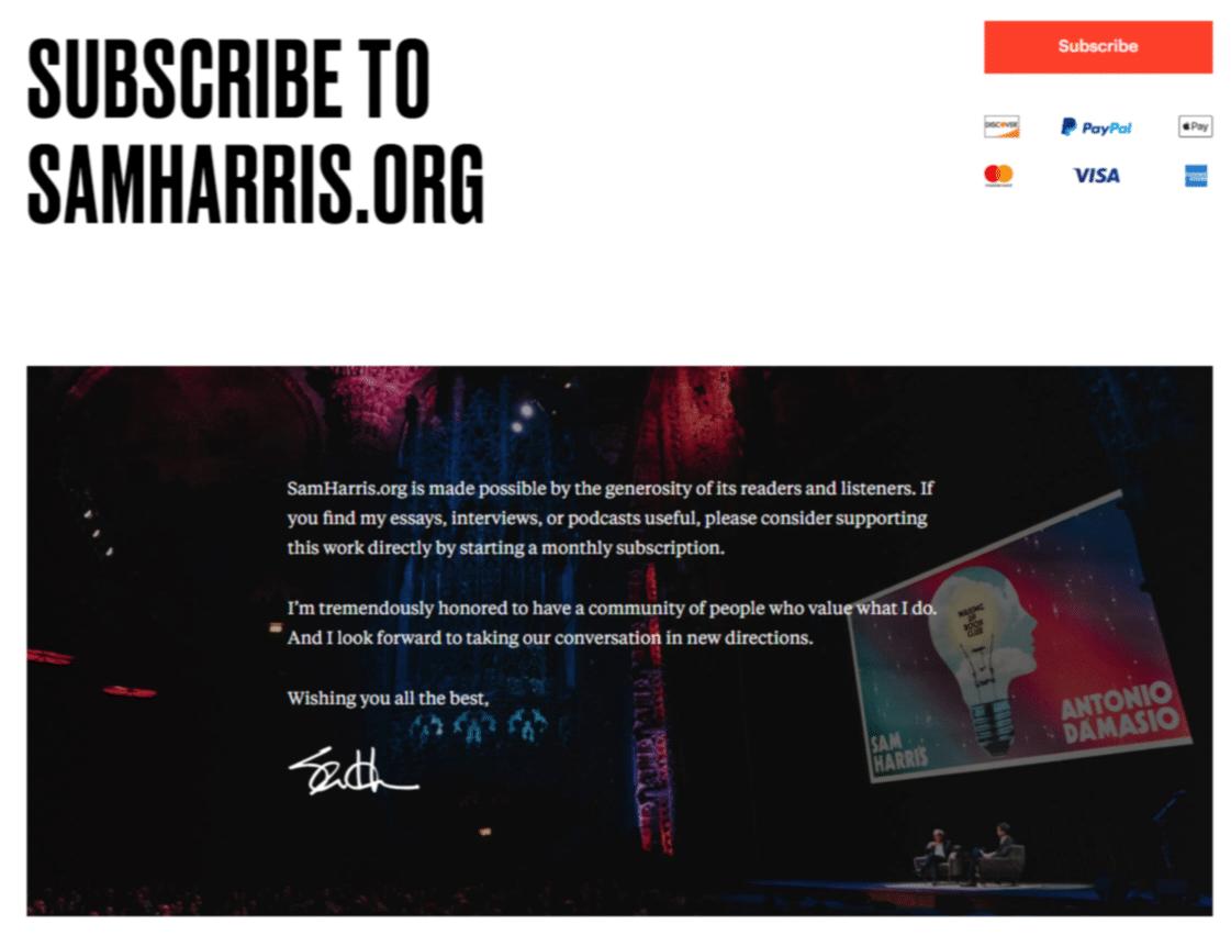 Il sito web di Sam Harris