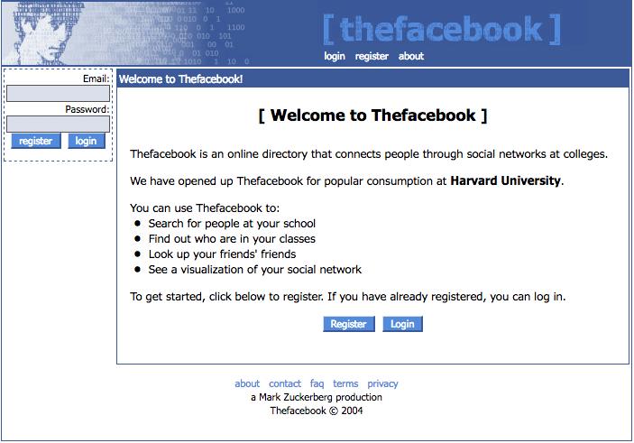 Thefacebook.com nel 2004