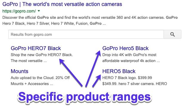Sitelink di Google per gamma di prodotti