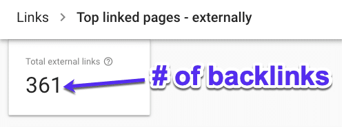 Controllo del numero di backlink in Google Search Console