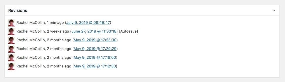 Le revisioni nella schermata classica di modifica dei post di WordPress