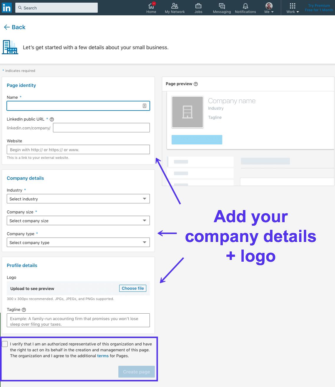 Aggiunta di informazioni alla pagina aziendale su LinkedIn