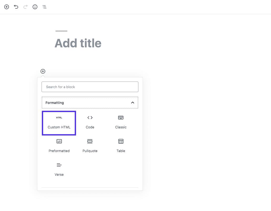 Blocco HTML personalizzato