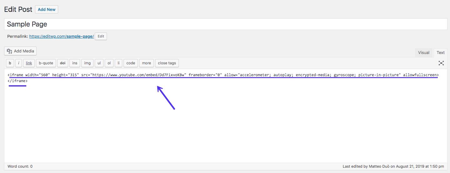 Incorporare iFrame come HTML personalizzato nel Classic Editor