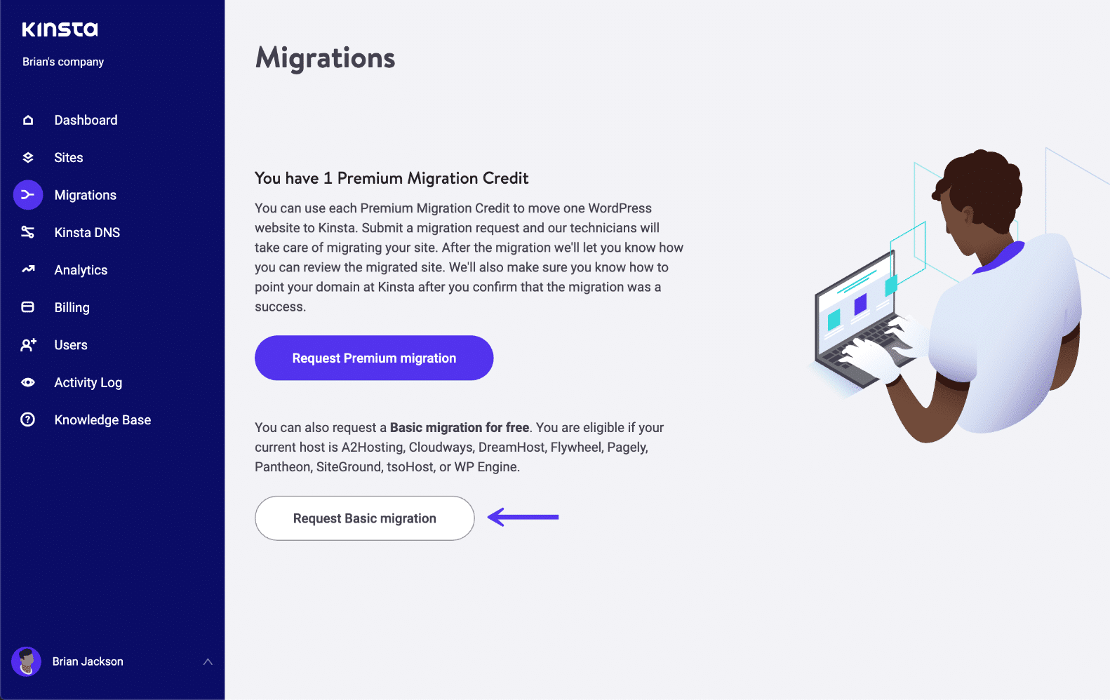 Migrazioni base in MyKinsta