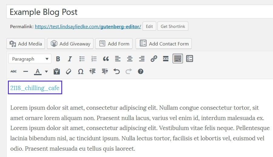 Caricare il file HTML nel Classic Editor