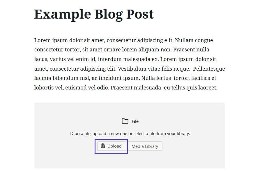 Caricare il file HTML in Gutenberg