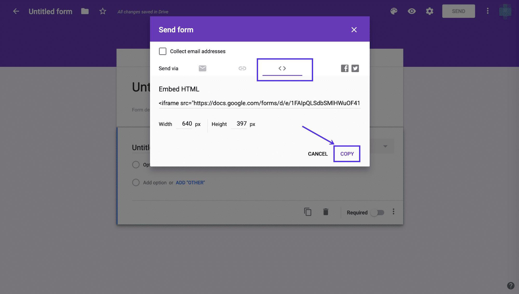 Ottenere il codice embed per il vostro Google Forms
