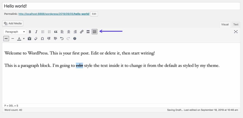 Barra degli strumenti per il Classic Editor