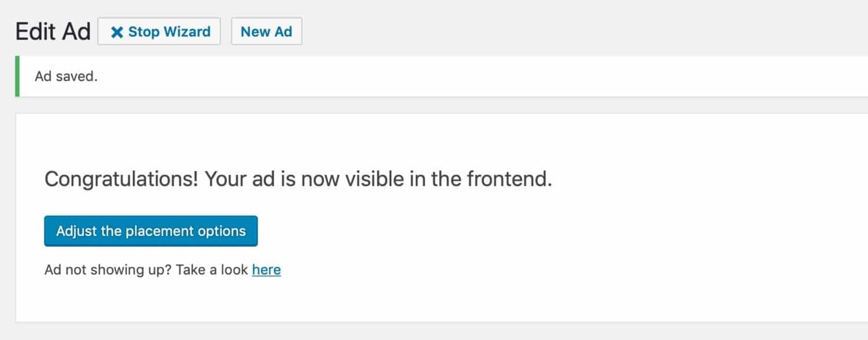 Advanced Ads messaggio di congratulazioni