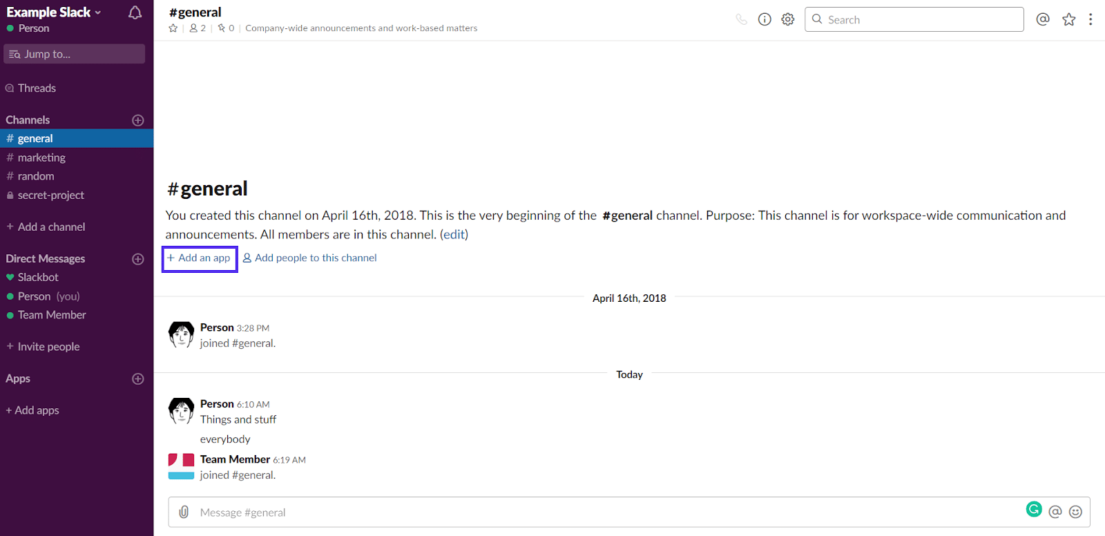 Aggiungere un'applicazione in Slack