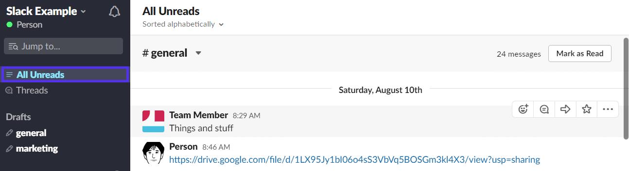 Tutti i messaggi non letti in Slack