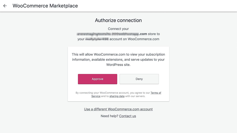 Autorizzazione della connessione all'estensione WooCommerce