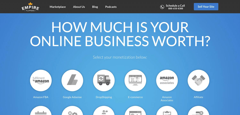 Calcolatore di valore del sito web Empire Flippers