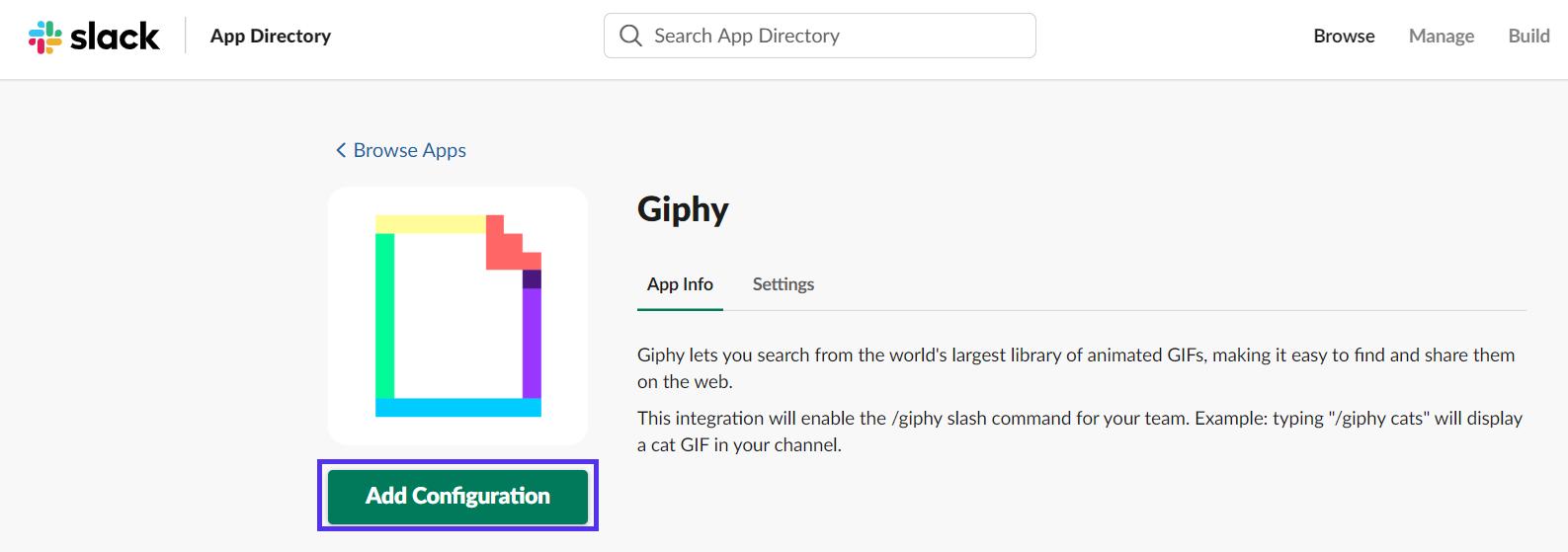 Aggiungi Configurazione Giphy