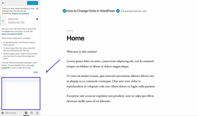 CSS aggiuntivi nel Customizer