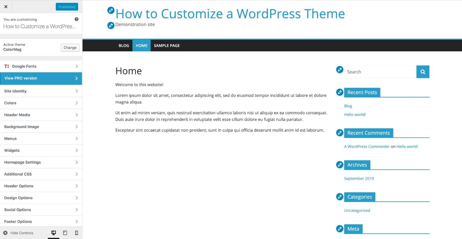 Il Customizer WordPress