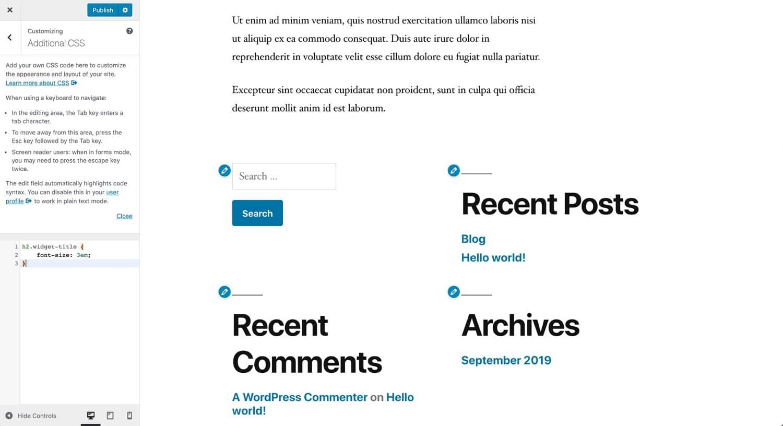 Modifica della dimensione del font con il CSS aggiuntivo