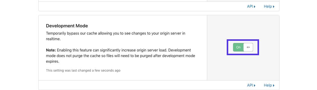 Fate clic sull'interruttore per disattivare la modalità di sviluppo.