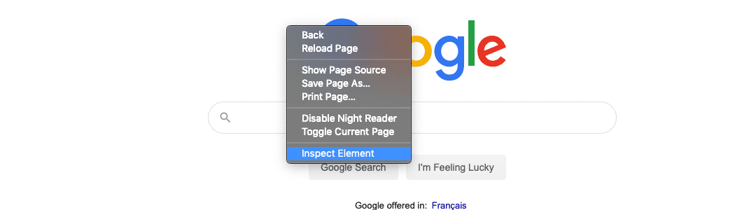Scegliete l'opzione Inspect Element dopo aver fatto clic con il tasto destro del mouse sulla pagina.