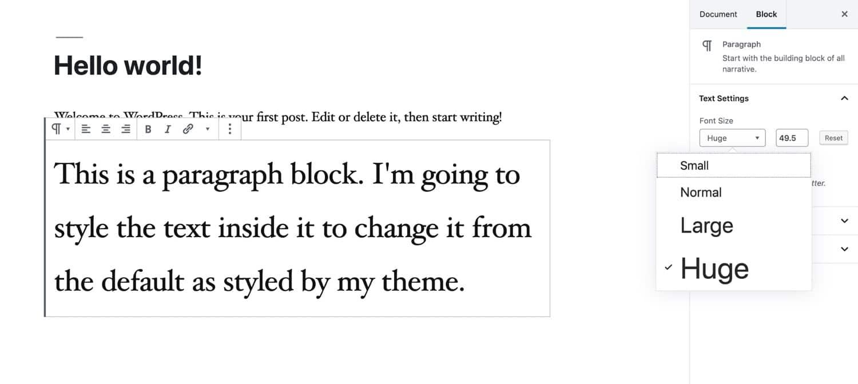 Modifica delle dimensioni dei font in Gutenberg