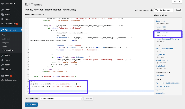 modifica header php