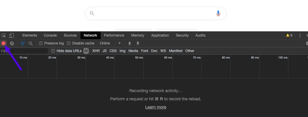 Assicuratevi che il pulsante di registrazione sulla scheda Network sia rosso.