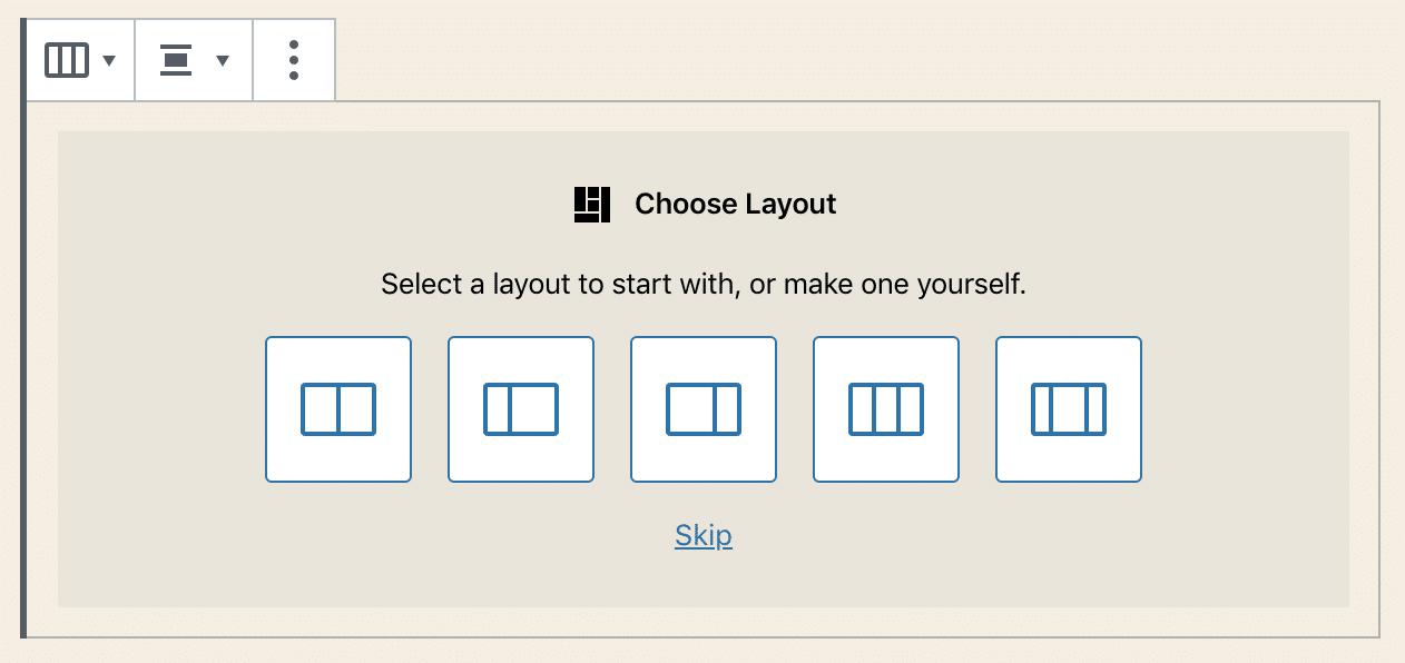 Il selettore di layout del blocco Colonne