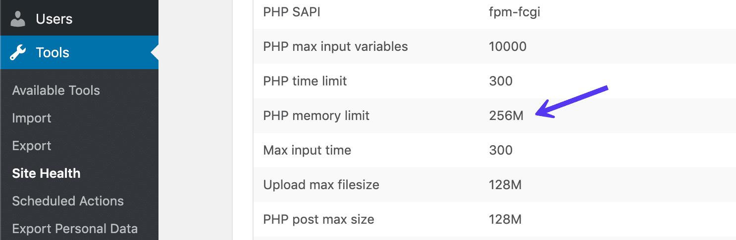 Site health di WordPress: limite memoria PHP