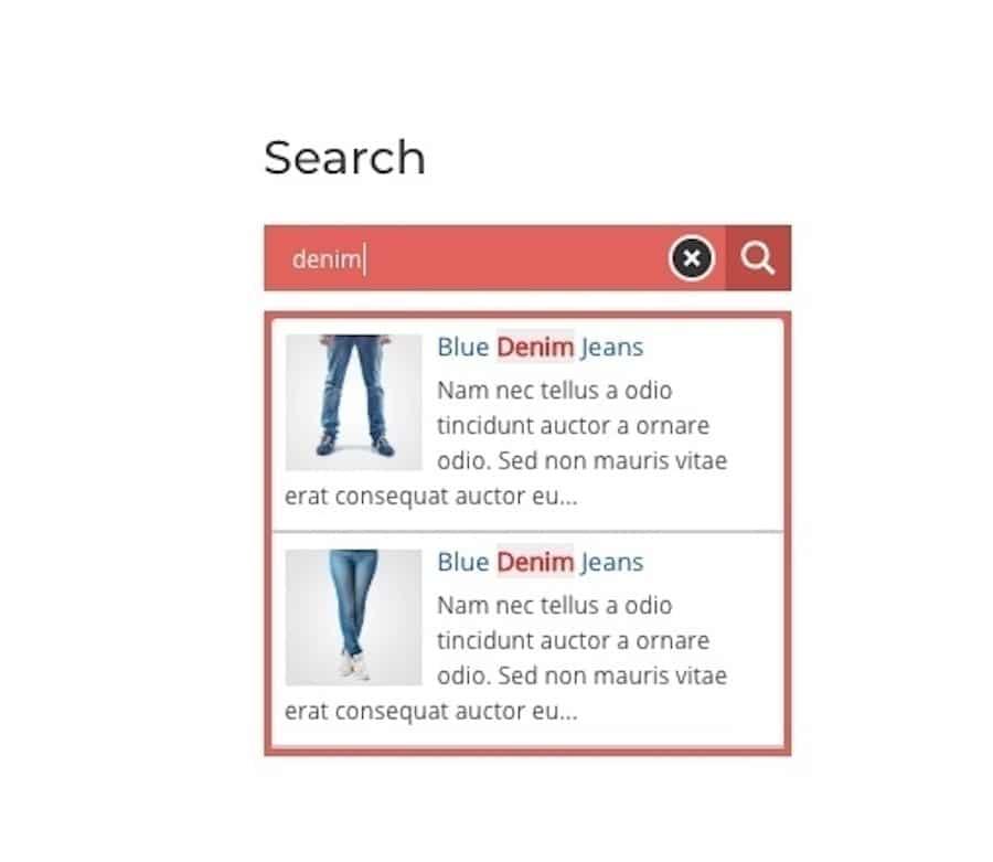 Un esempio di form di ricerca con parole chiave in evidenza creato con il plugin Ajax Search