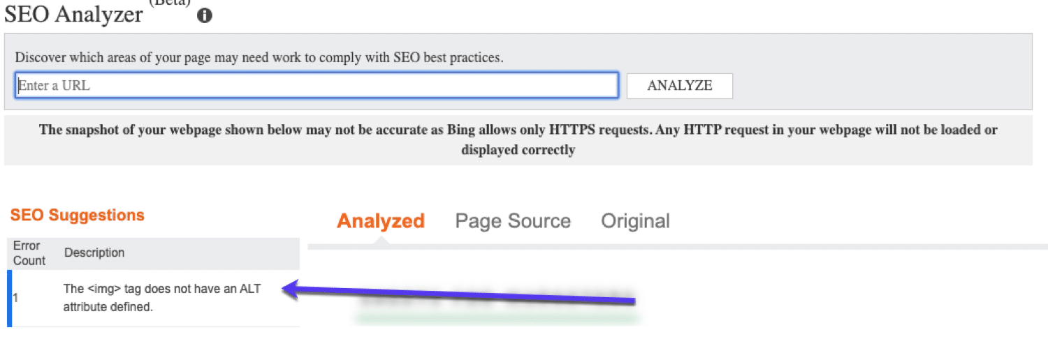 SEO Analyzer su Bing