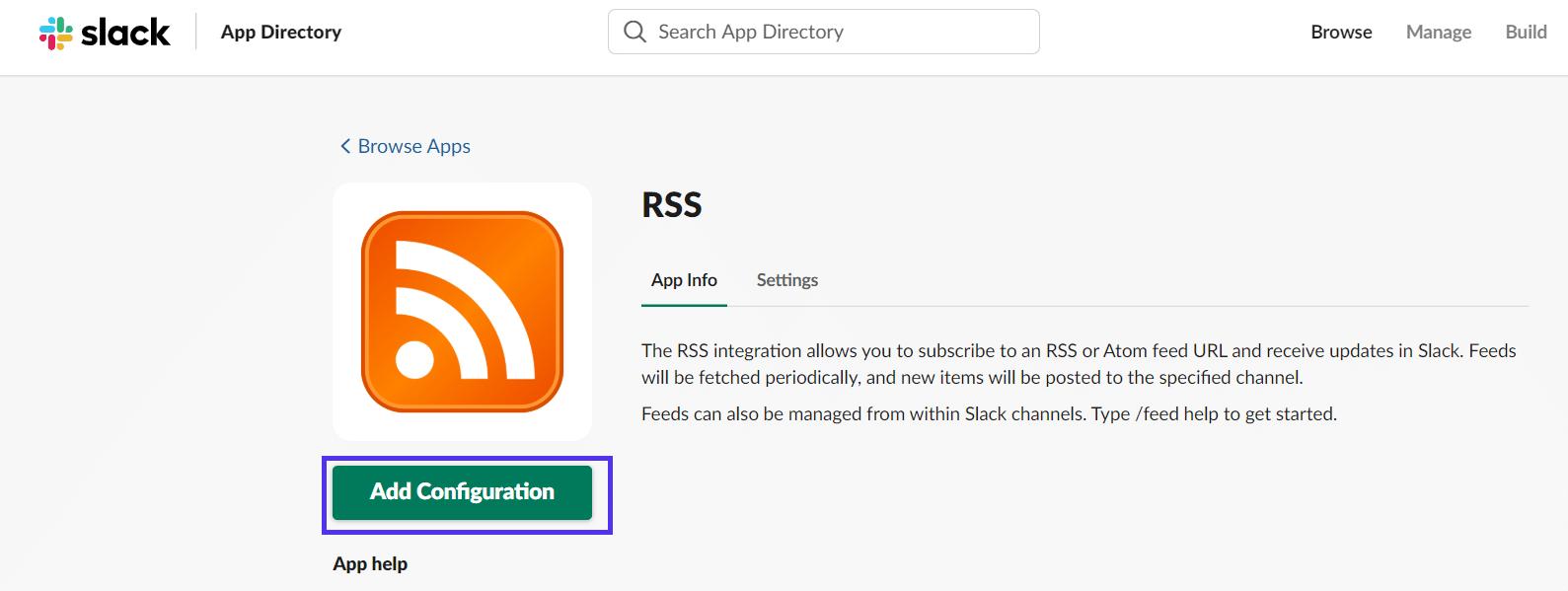 Configurazione RSS in Slack