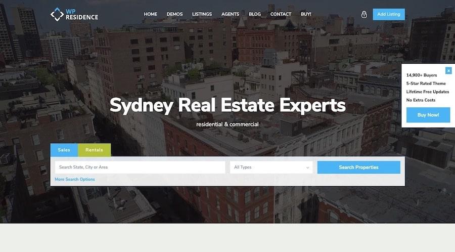 Una demo del tema Residence Real Estate in ThemeForest che mostra come la barra di ricerca è inserita automaticamente nel template