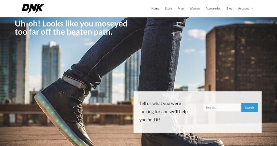 Un esempio di come può presentarsi una pagina di errore 404 con una barra di ricerca