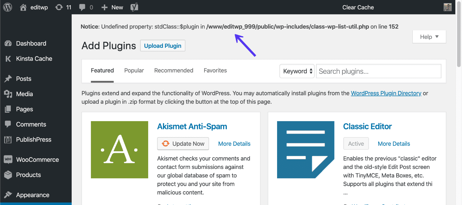 Esempio di errore WP_DEBUG su un sito WordPress