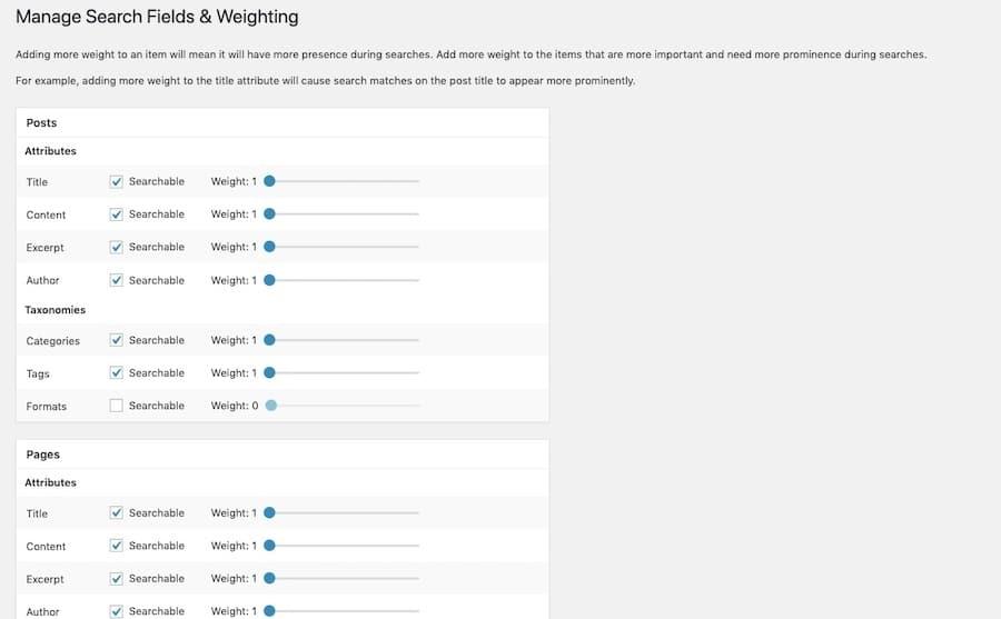 Le impostazioni di ElasticPress permettono di aggiungere o rimuovere elementi e definire il loro peso quando si mostrano i risultati