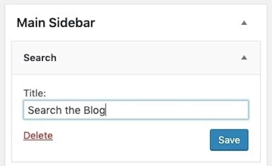Come assegnare il titolo al widget Cerca